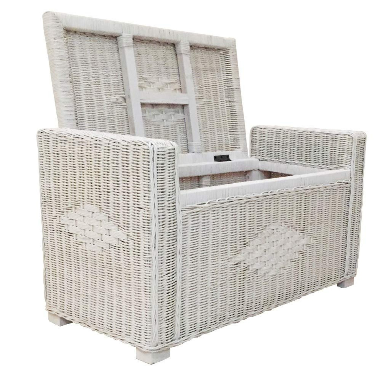 Adam White Solid Rattan Storage Ottoman w/ Black Cushion