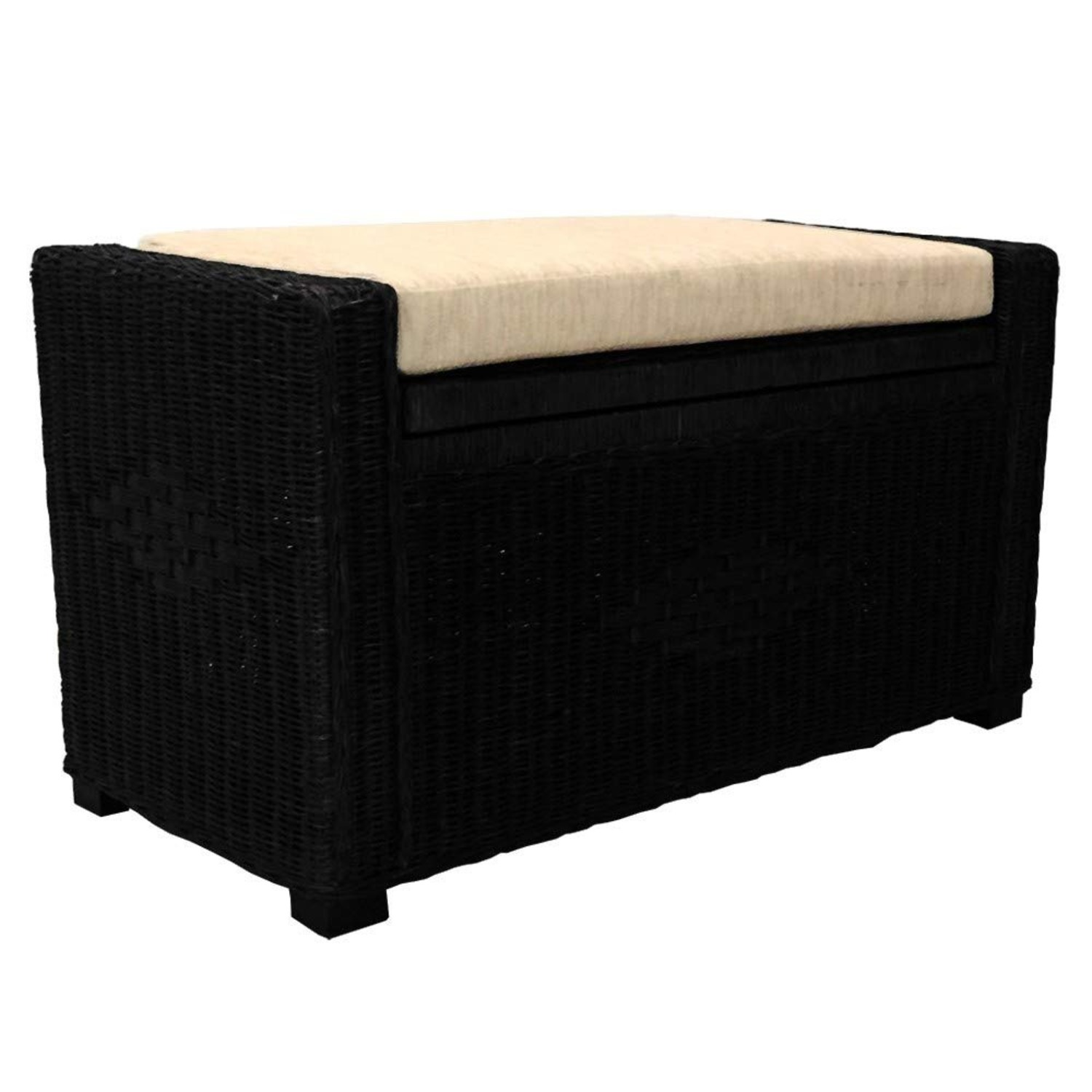 Adam Black Solid Rattan Chest Storage Ottoman