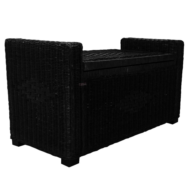 Adam Black Rattan Chest Storage Ottoman w/ Black Cushion - image-2