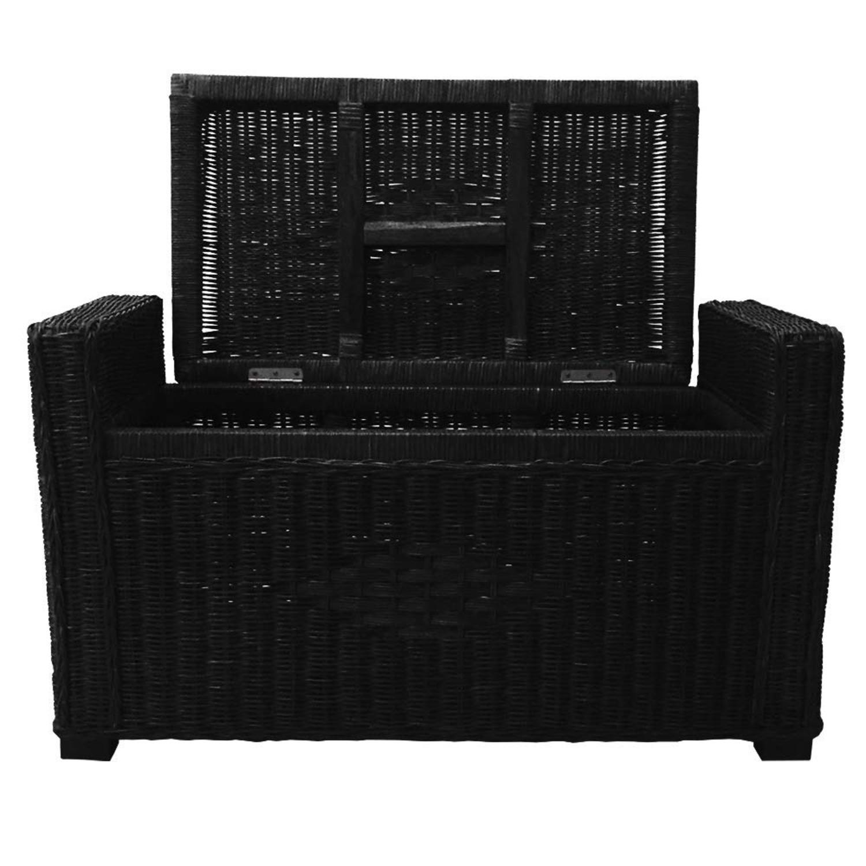 Adam Black Rattan Chest Storage Ottoman w/ Black Cushion - image-4