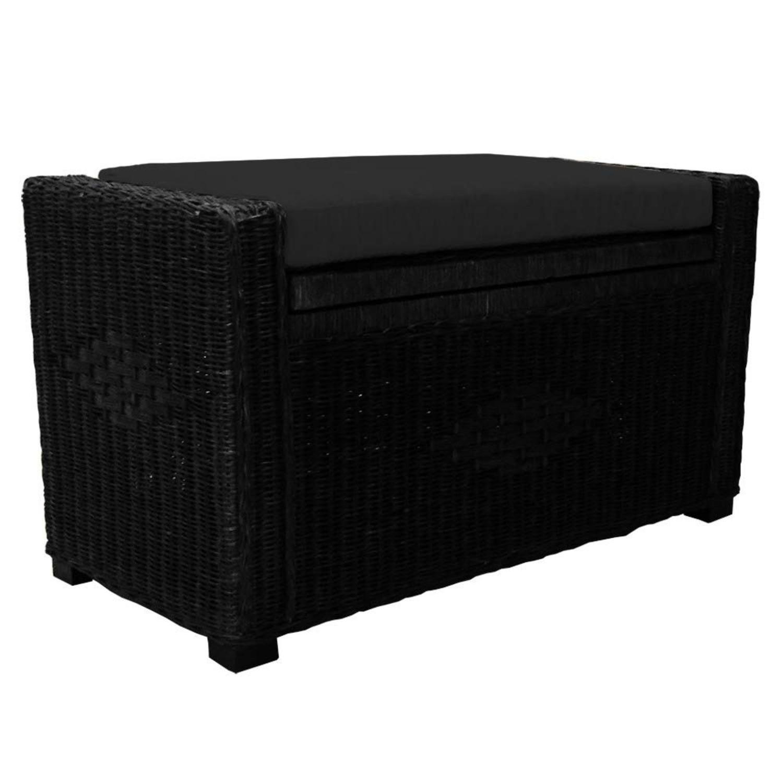 Adam Black Rattan Chest Storage Ottoman w/ Black Cushion - image-1