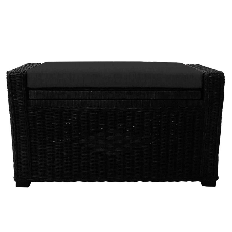 Adam Black Rattan Chest Storage Ottoman w/ Black Cushion - image-0