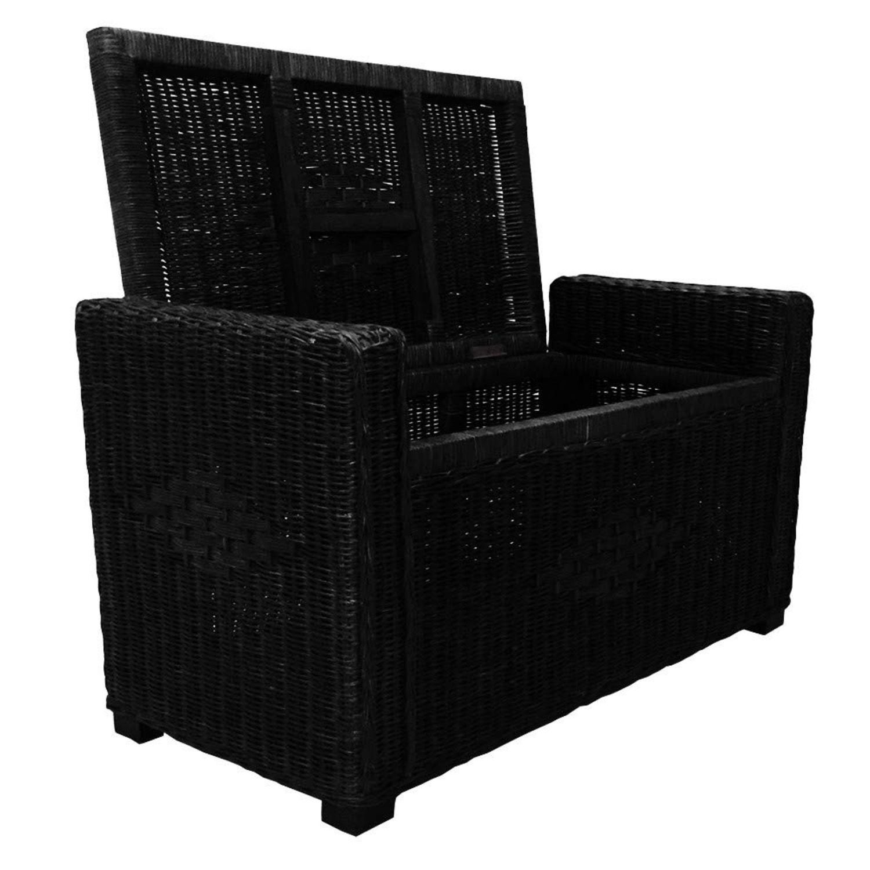 Adam Black Rattan Chest Storage Ottoman w/ Black Cushion - image-3