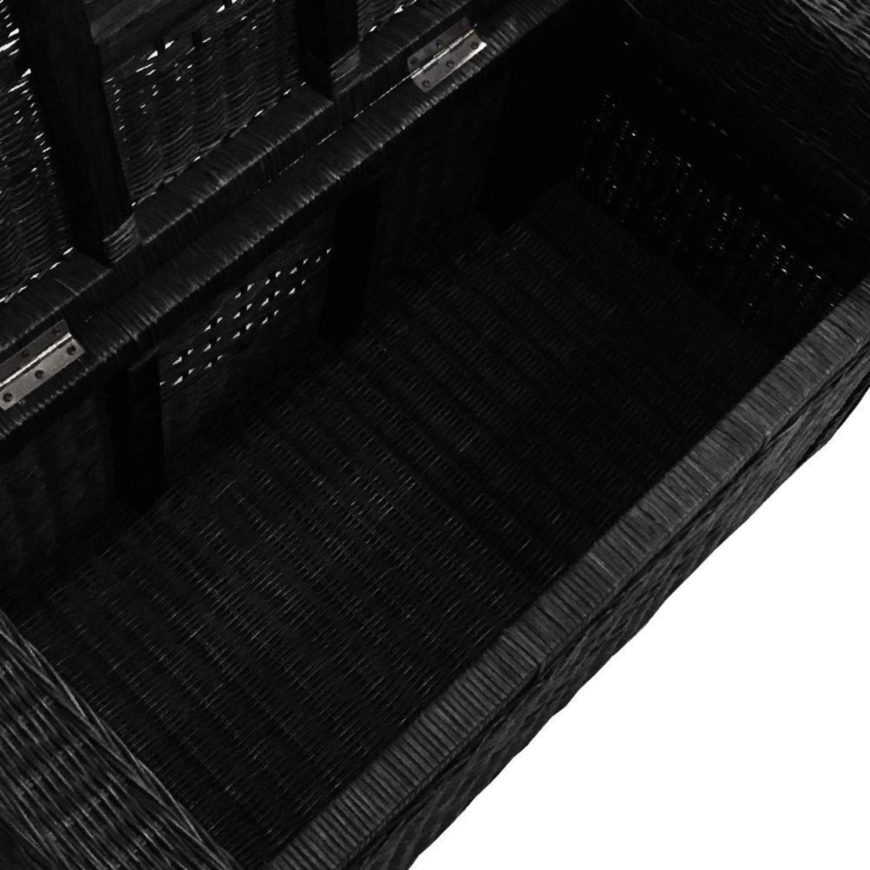 Adam Black Rattan Chest Storage Ottoman w/ Black Cushion - image-5