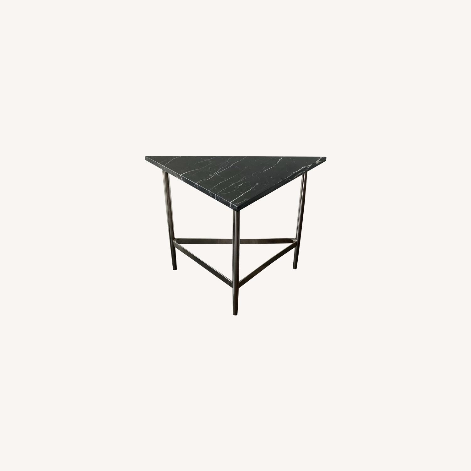 Alton Triangle Black Marble Accent Table - image-0