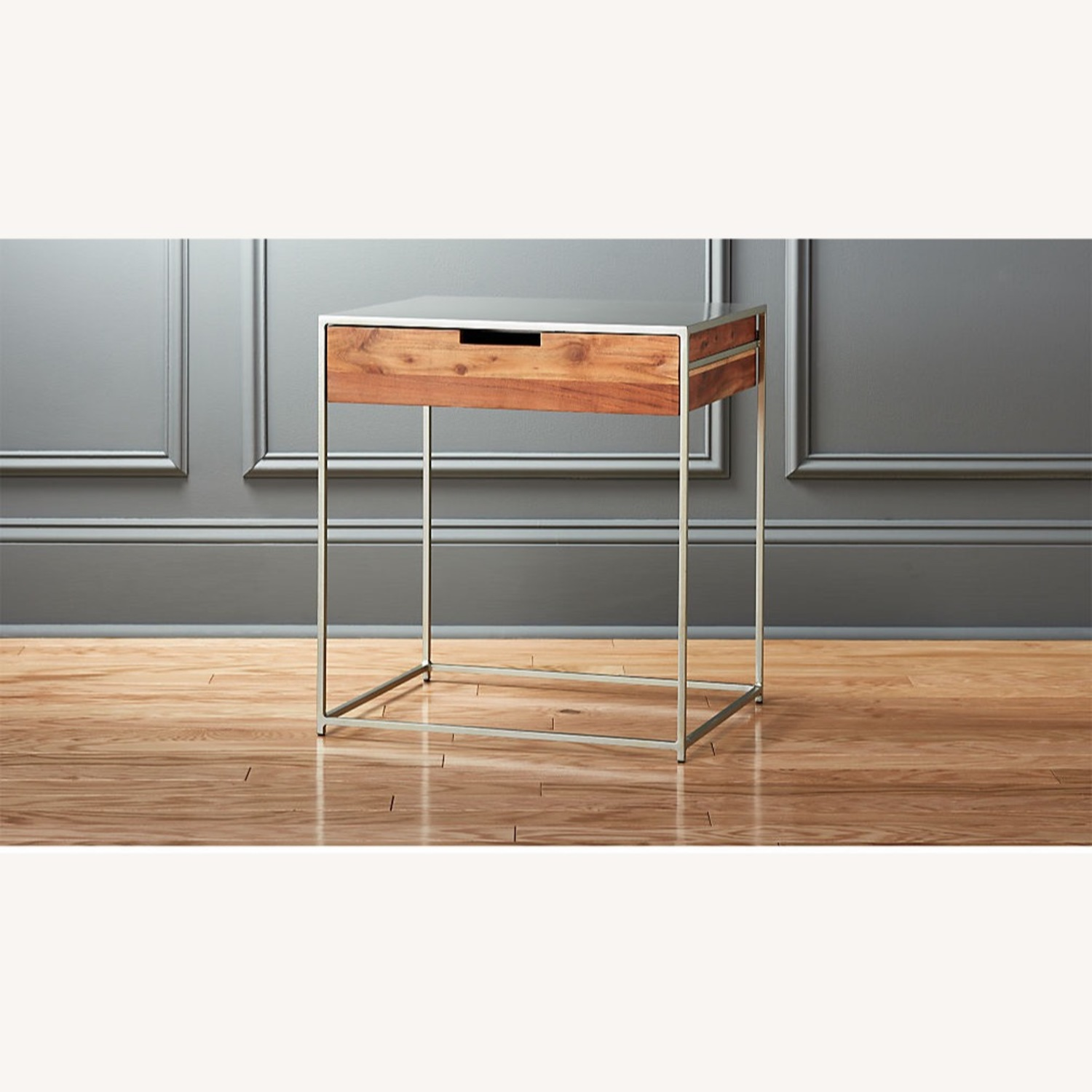 CB2 Audrey Wood & Metal Contemporary Nightstand - AptDeco