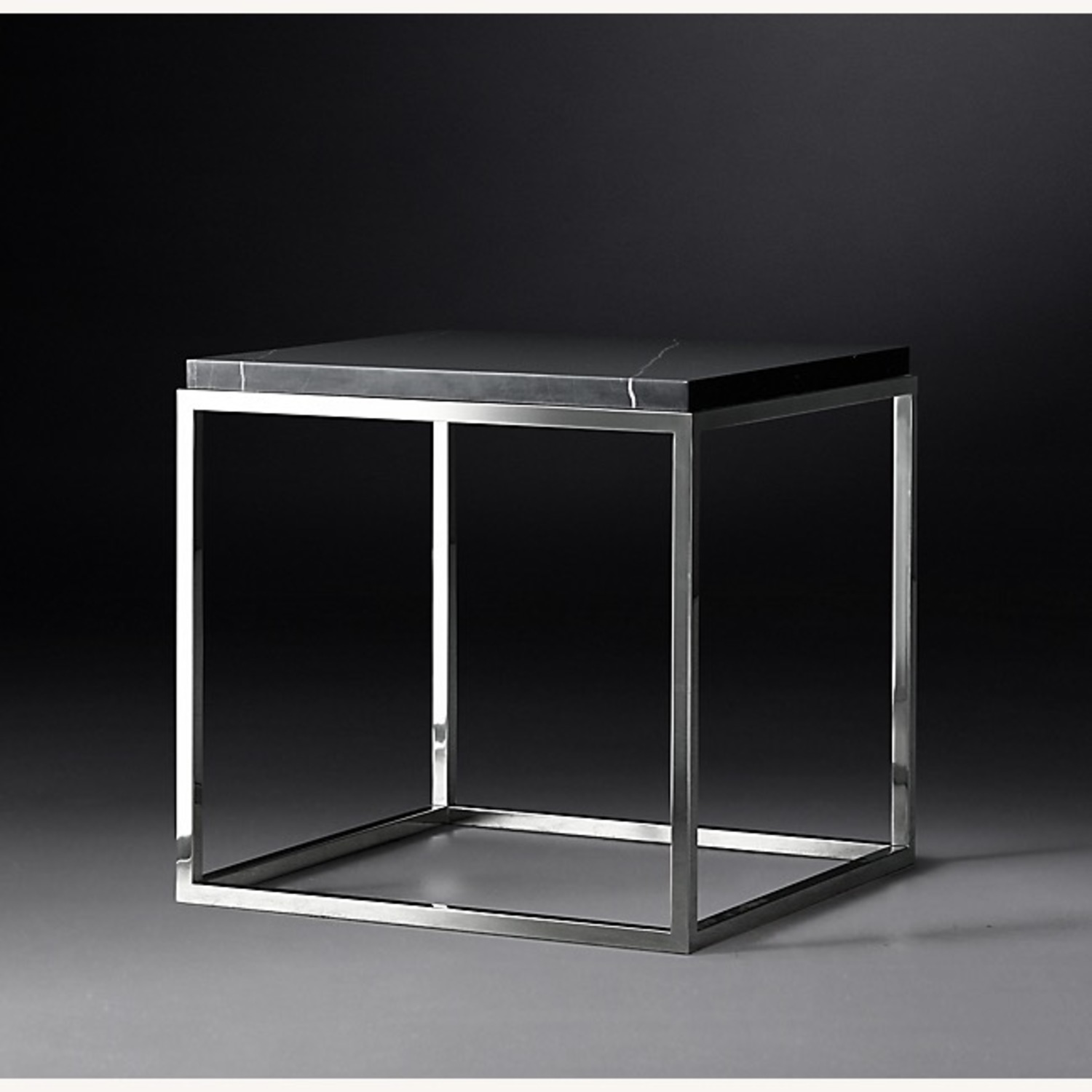 Black marble top & polished stainless steel base side table - image-1