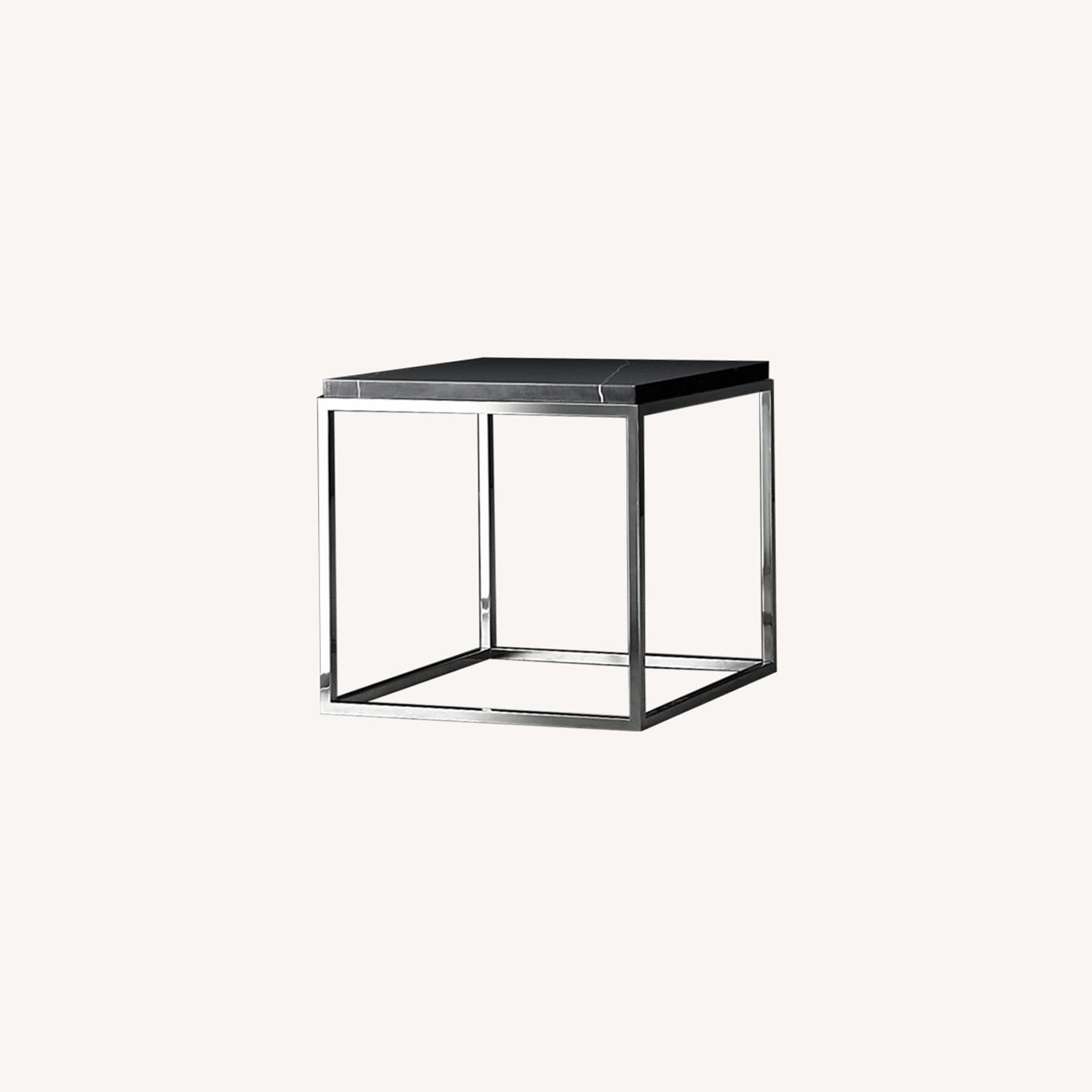 Black marble top & polished stainless steel base side table - image-0