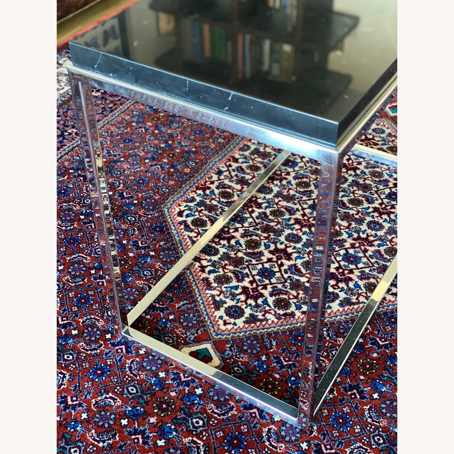 Black marble top & polished stainless steel base side table - image-5