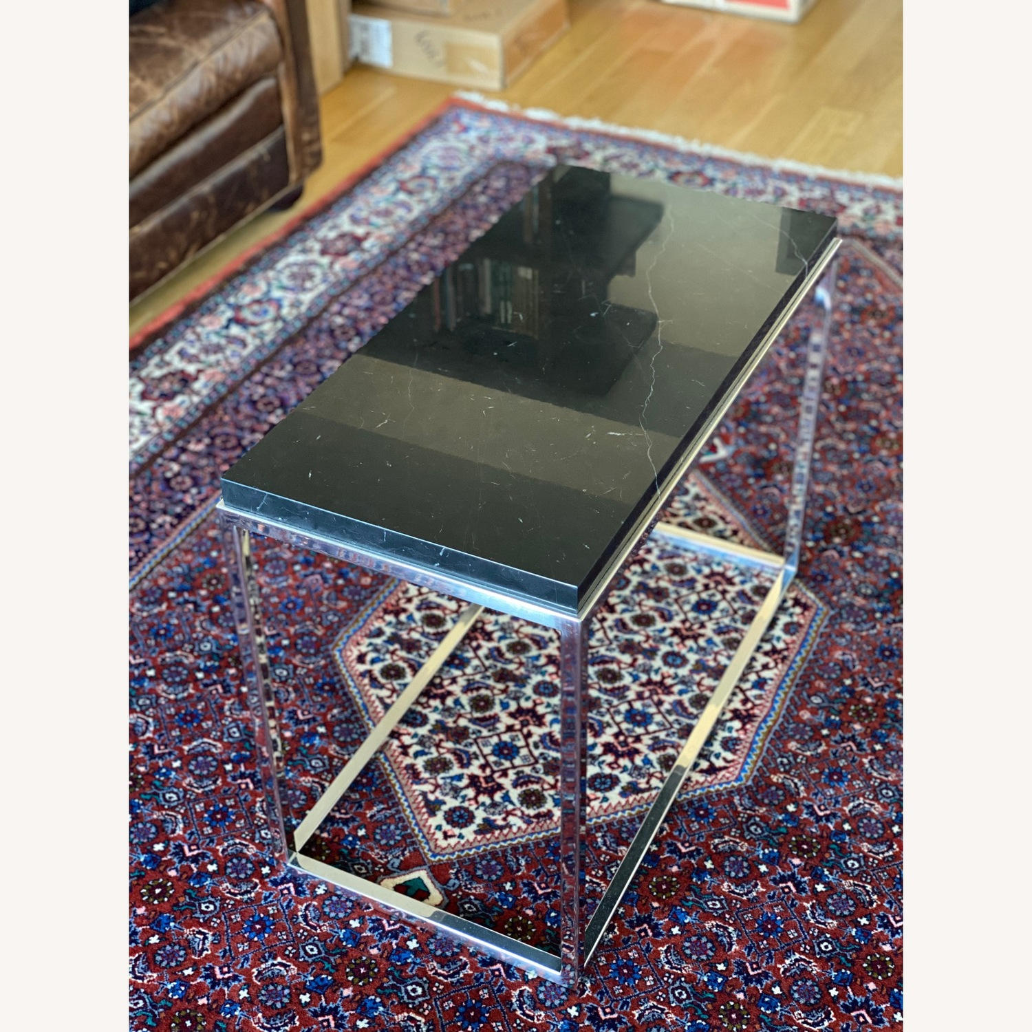 Black marble top & polished stainless steel base side table - image-3