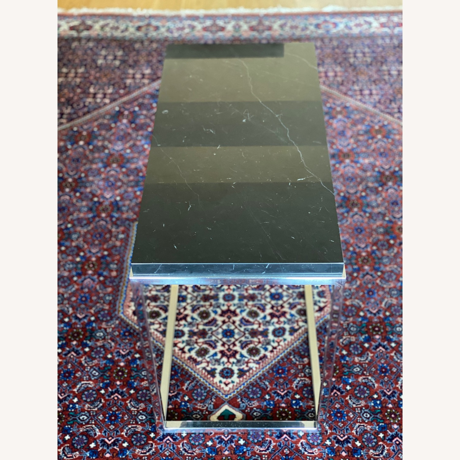 Black marble top & polished stainless steel base side table - image-4