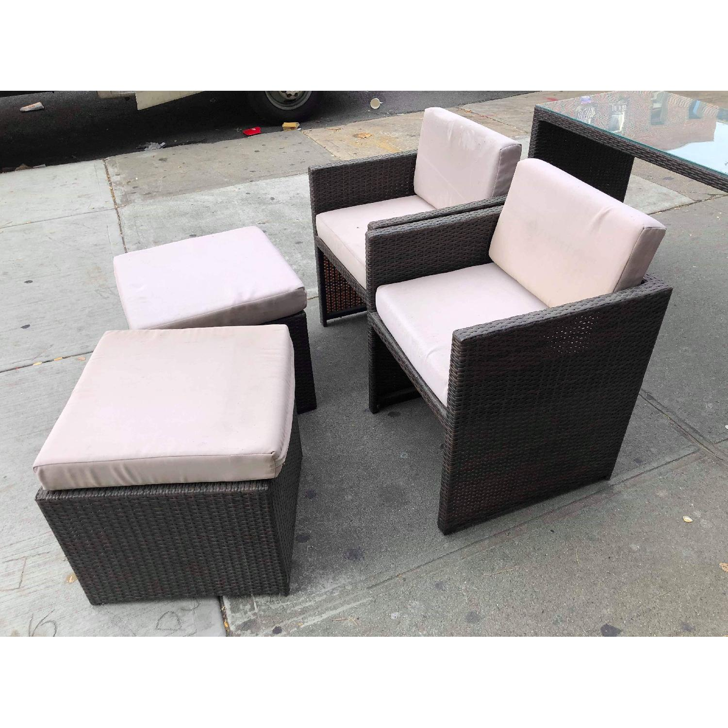 Outdoor Wicker 2 Armchairs w/ Ottomans & Table w/ Glass Top - image-19