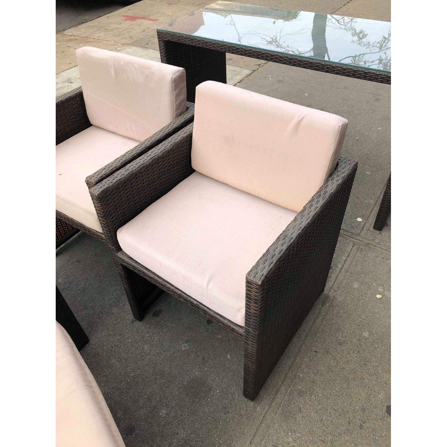 Outdoor Wicker 2 Armchairs w/ Ottomans & Table w/ Glass Top - image-9
