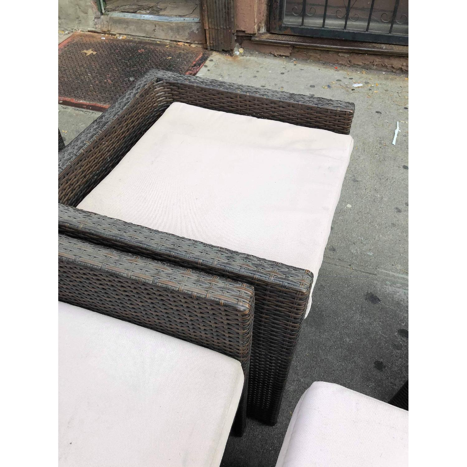 Outdoor Wicker 2 Armchairs w/ Ottomans & Table w/ Glass Top - image-20