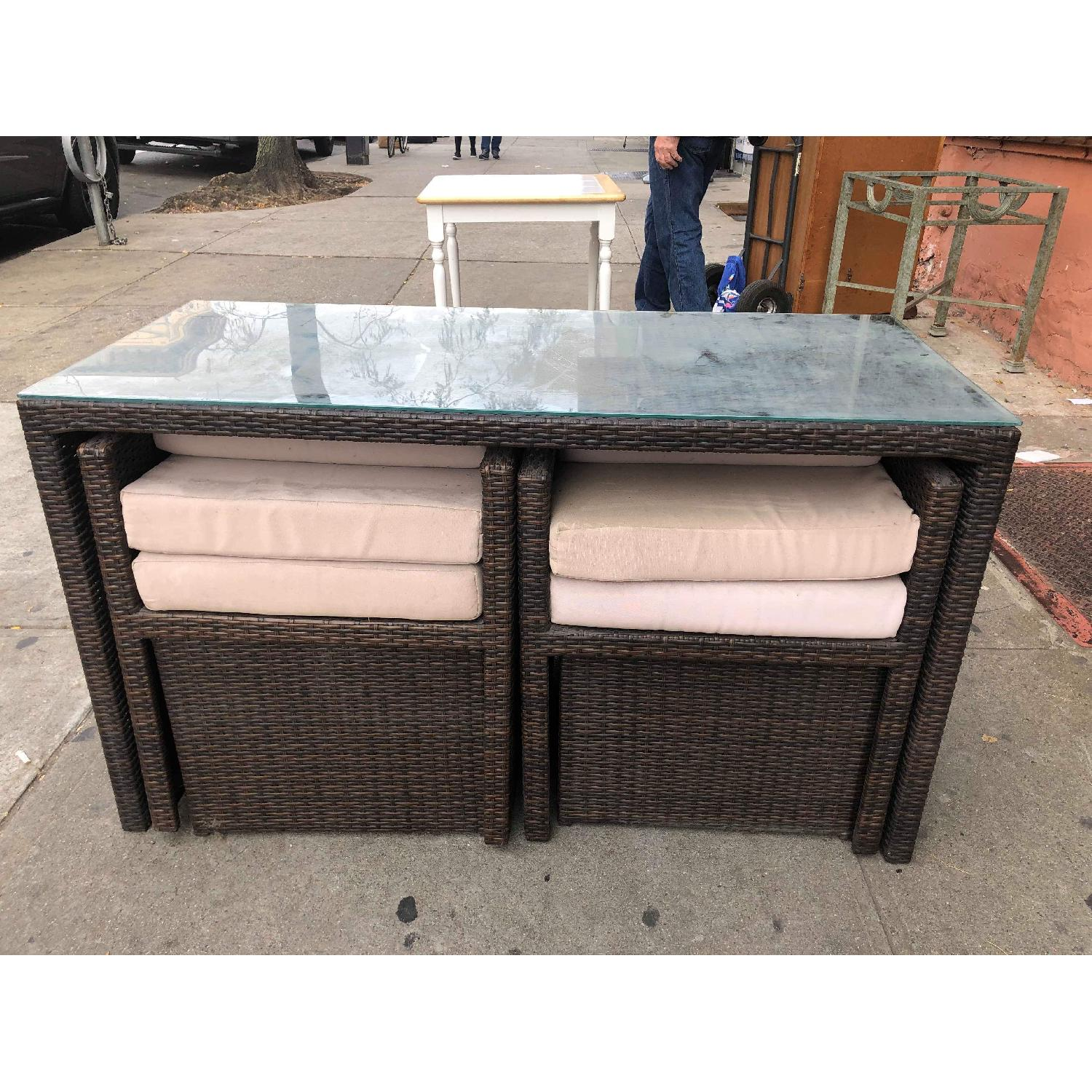 Outdoor Wicker 2 Armchairs w/ Ottomans & Table w/ Glass Top - image-13