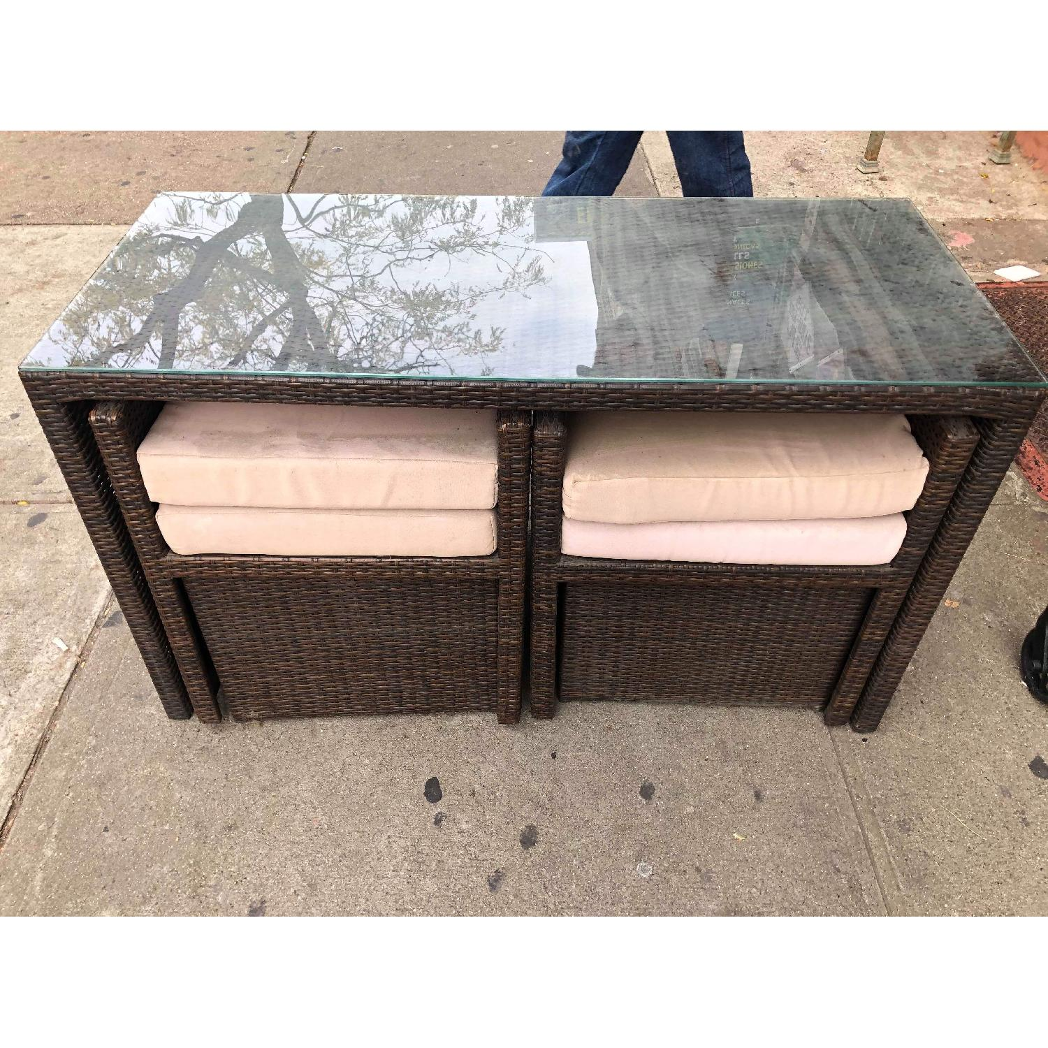 Outdoor Wicker 2 Armchairs w/ Ottomans & Table w/ Glass Top - image-17