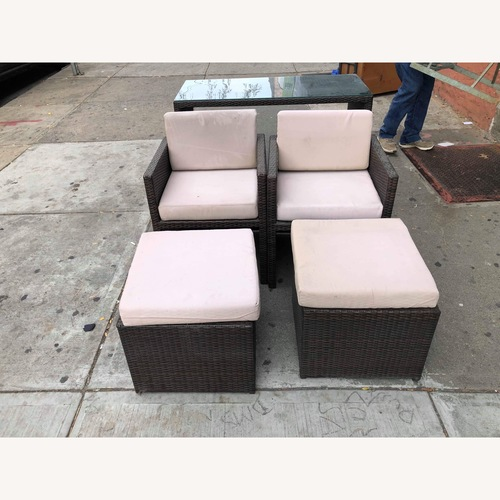 Outdoor Wicker 2 Armchairs w/ Ottomans & Table w/ Glass Top