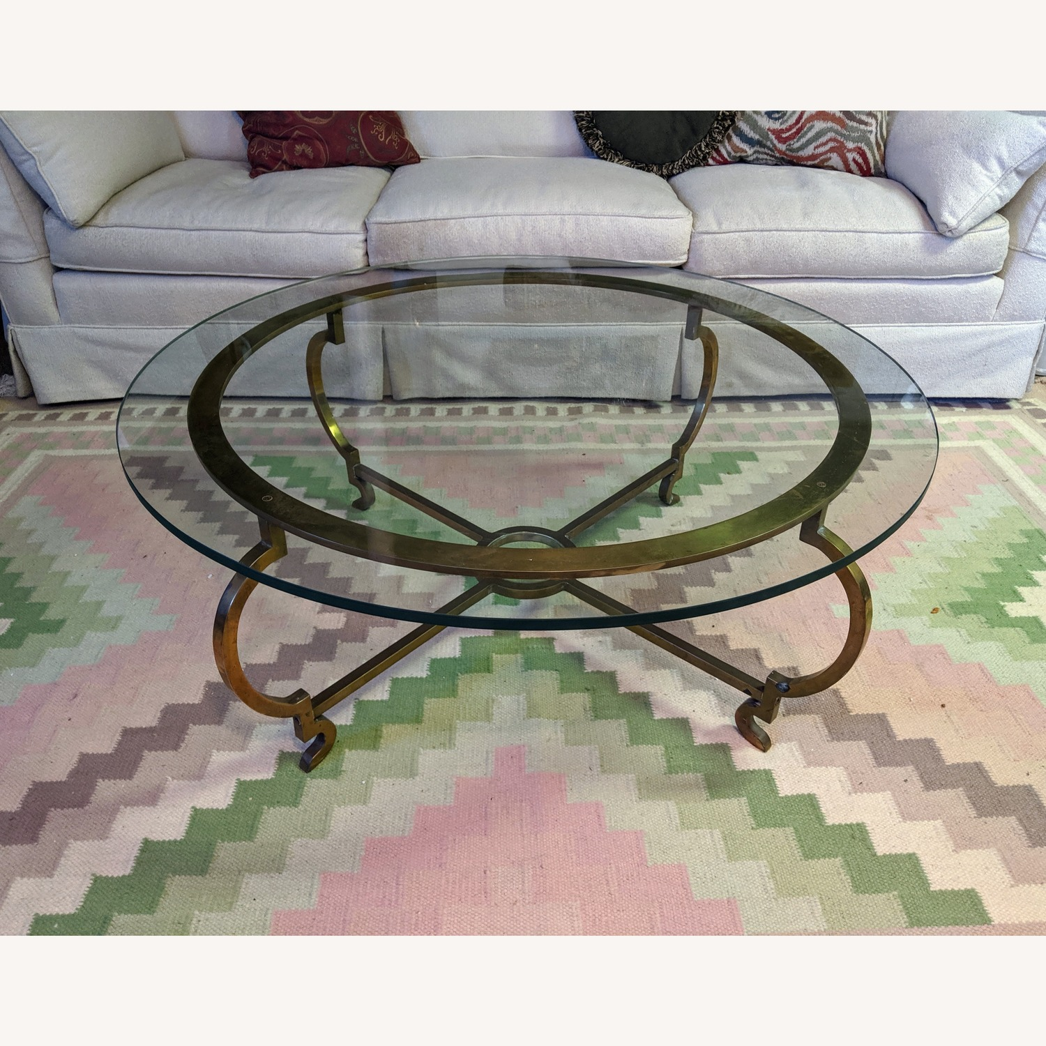 Vintage Round Brass Glass Coffee Table Aptdeco