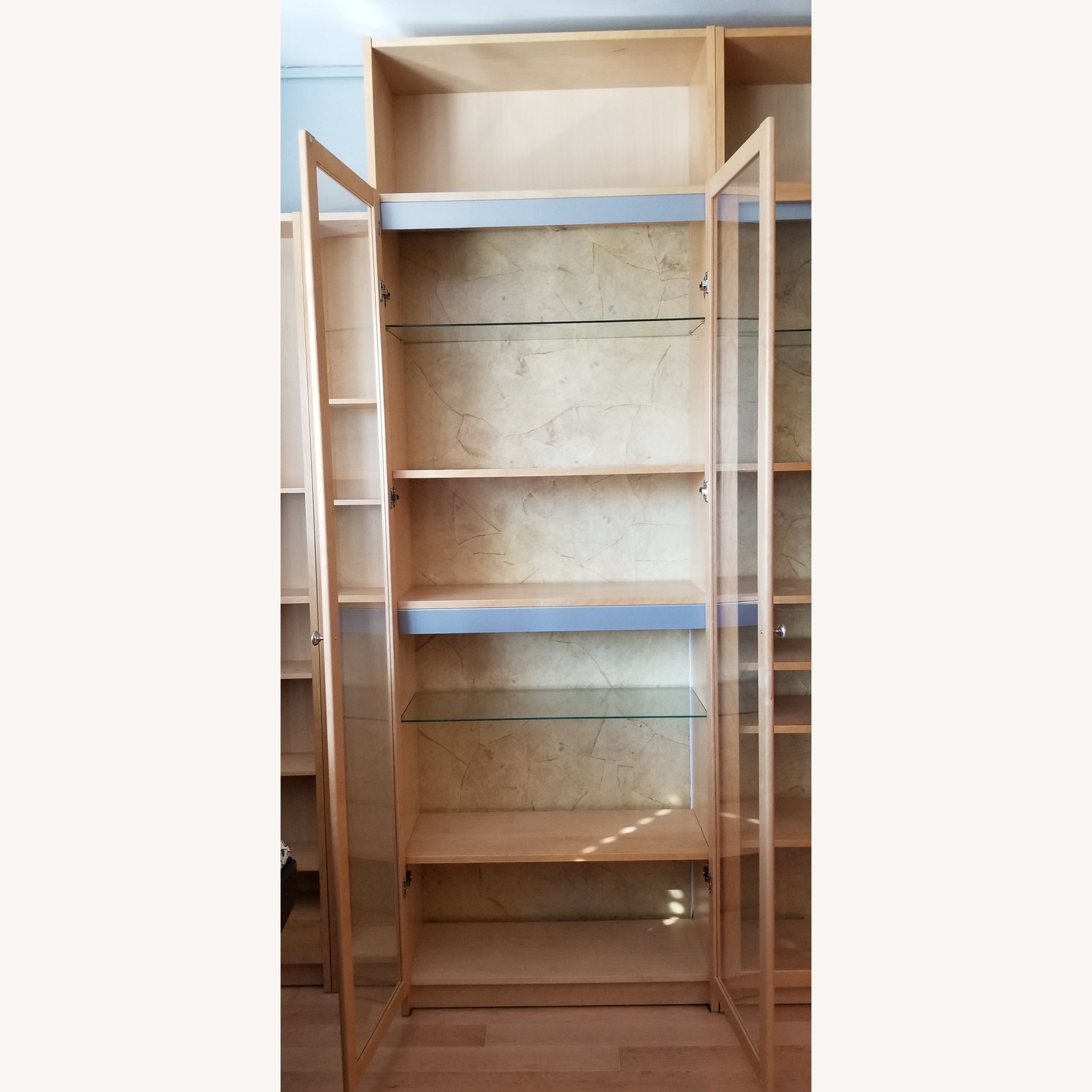 Ikea Bookcase W Glass Doors Lights