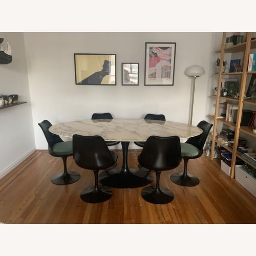 Knoll Saarinen Tulip Dining Table w/ Calacatta Marble Top
