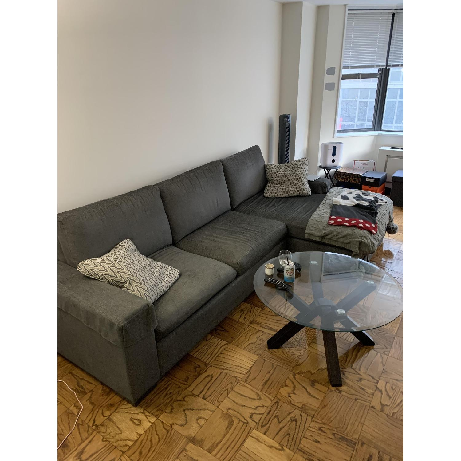 Ethan Allen Conway Grey 2-Piece Sectional Sofa - image-1