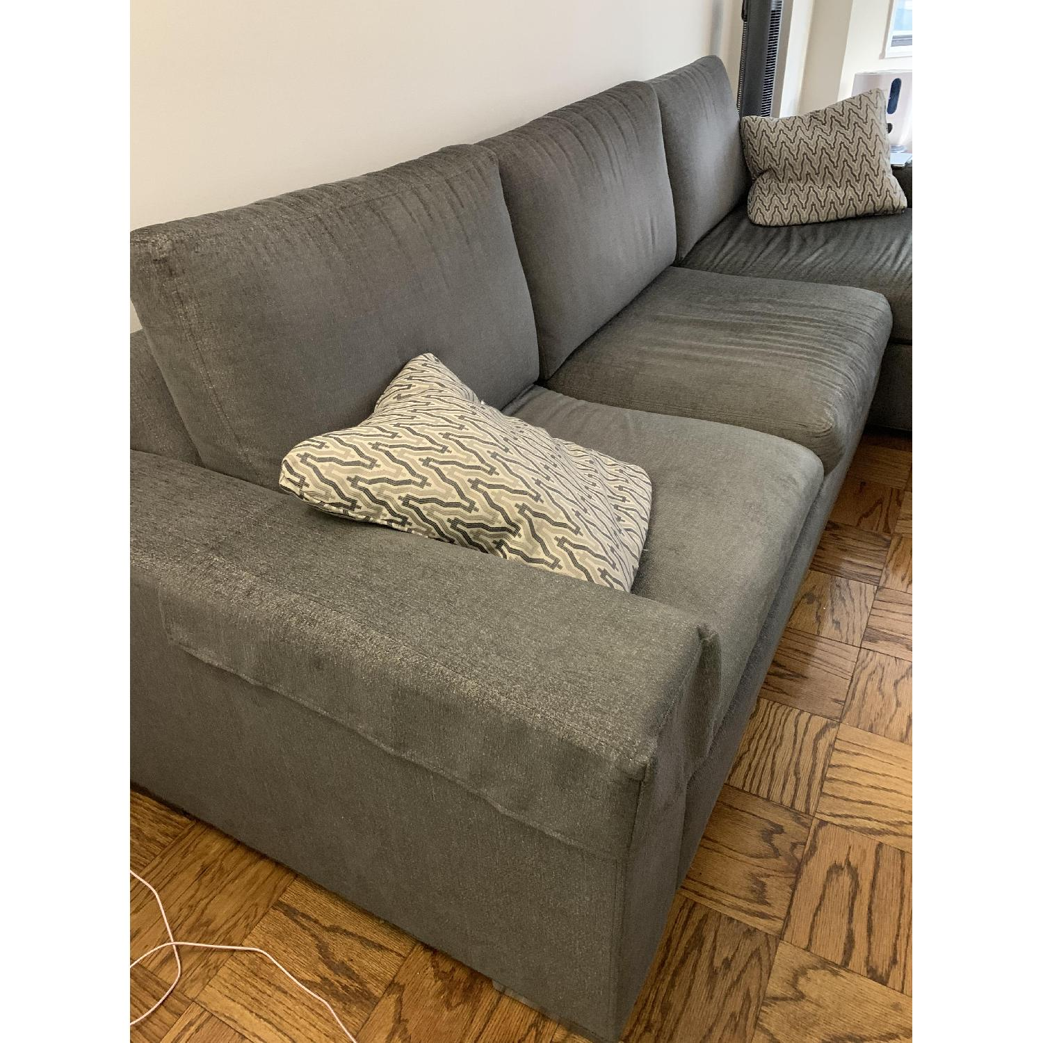 Ethan Allen Conway Grey 2-Piece Sectional Sofa - image-3