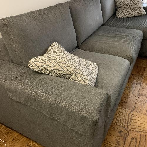 Ethan Allen Conway Grey 2-Piece Sectional Sofa