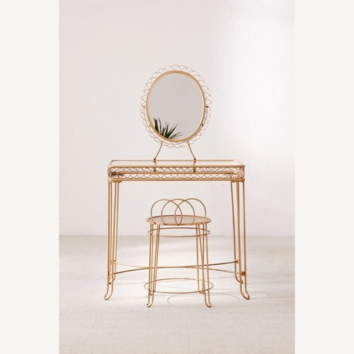 Urban Outfitters Wire Loop Gold Vanity w/ Stool