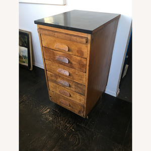 Vintage Wooden File Drawers Cabinet