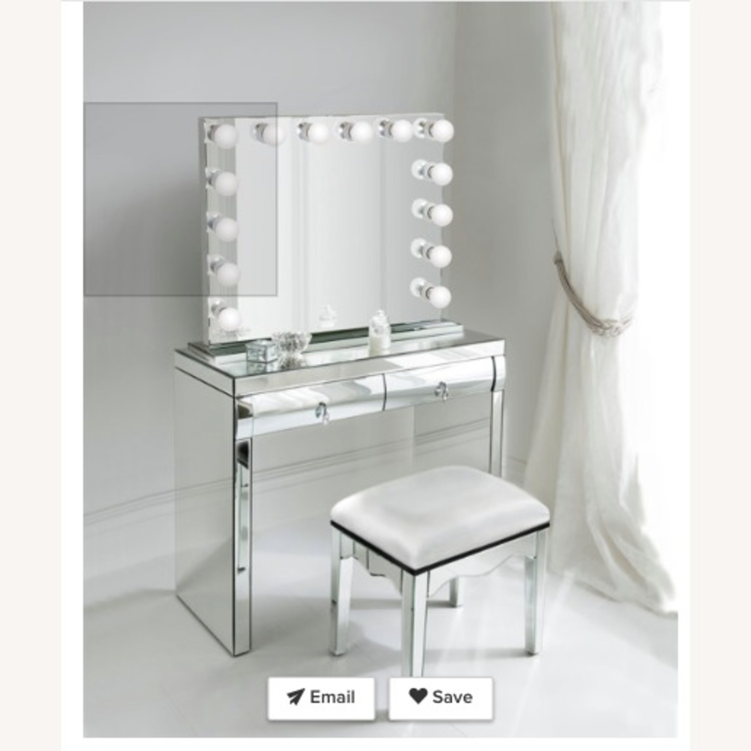 Non-Dimmable LED Mirror w/ Mirrored Stand - image-1