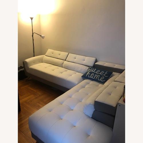 Poundex Bobkona Faux Leather Sectional Sofa