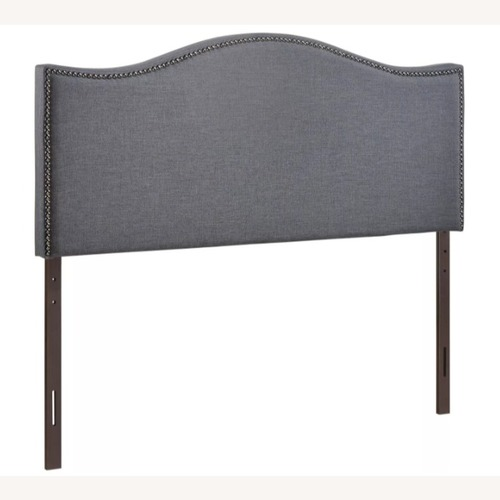 Used Modway Smoke Gray Queen Nailhead Upholstered Headboard for sale on AptDeco
