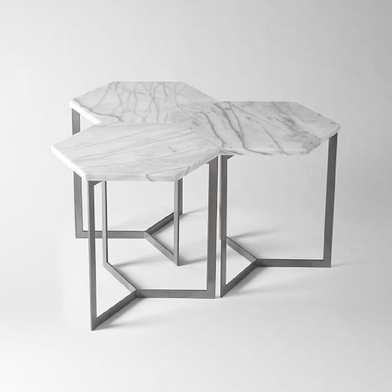 West Elm Marble Hex Side Tables - image-8