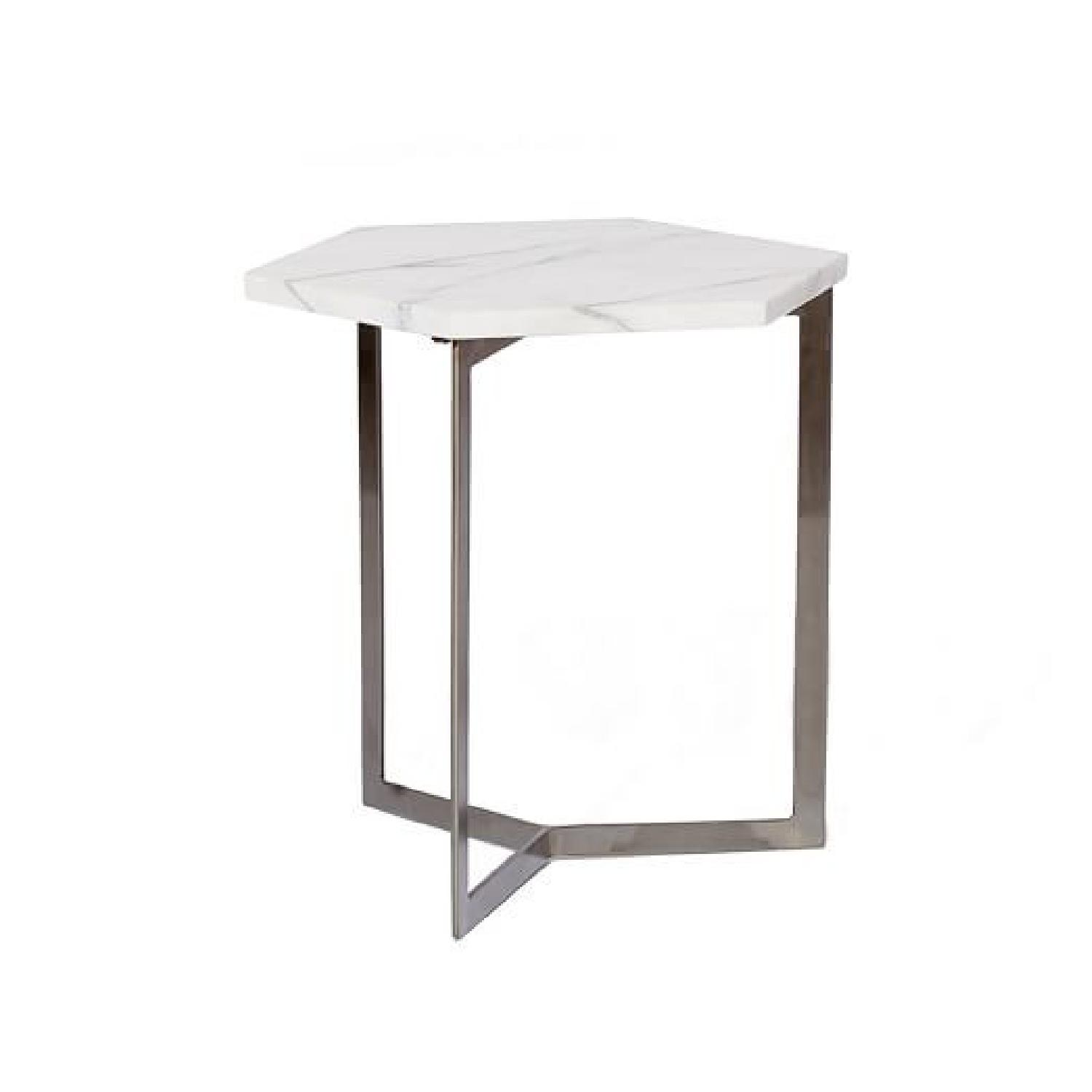 West Elm Marble Hex Side Tables - image-0