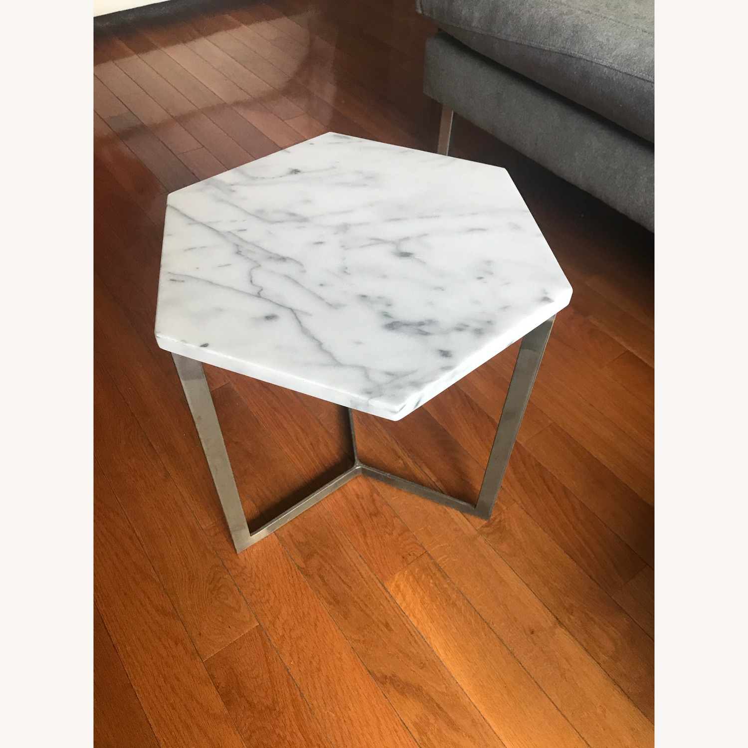 West Elm Marble Hex Side Tables - image-1