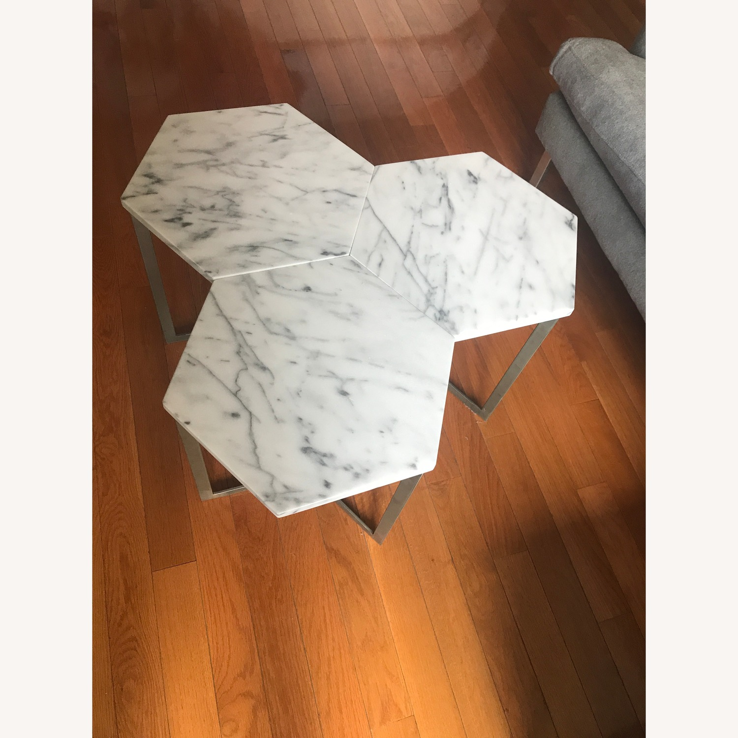 West Elm Marble Hex Side Tables - image-4