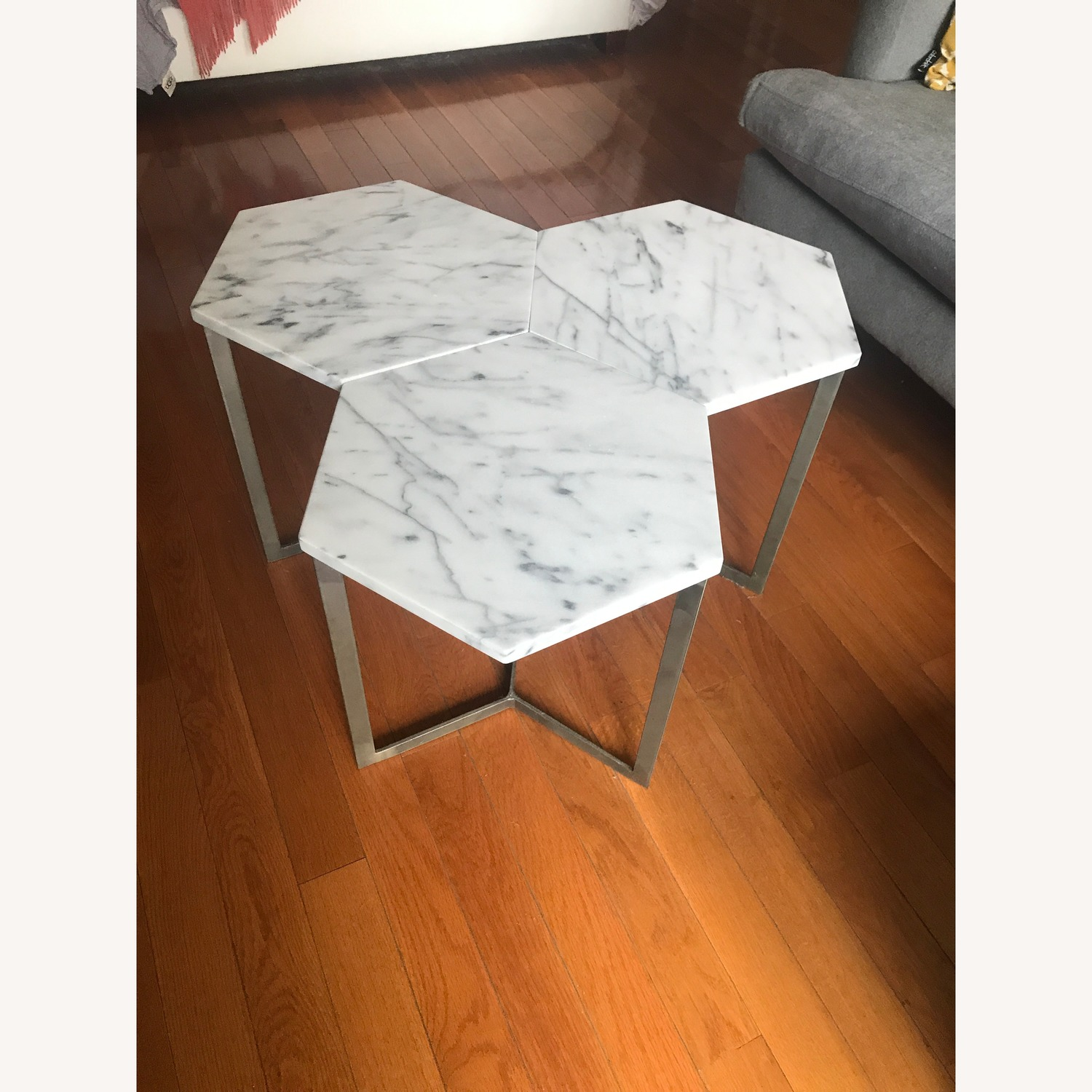 West Elm Marble Hex Side Tables - image-3