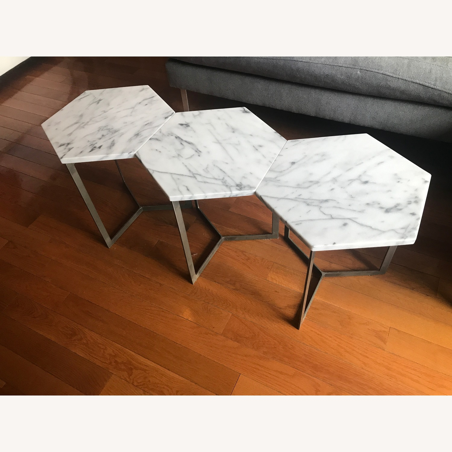 West Elm Marble Hex Side Tables - image-5
