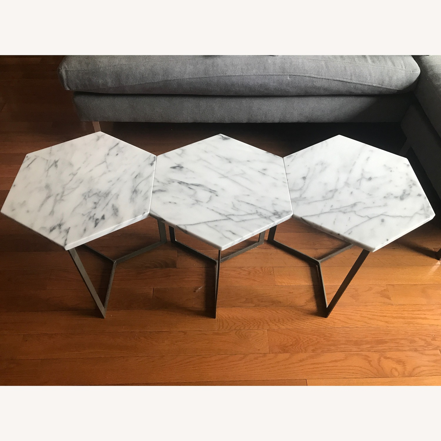 West Elm Marble Hex Side Tables - image-6
