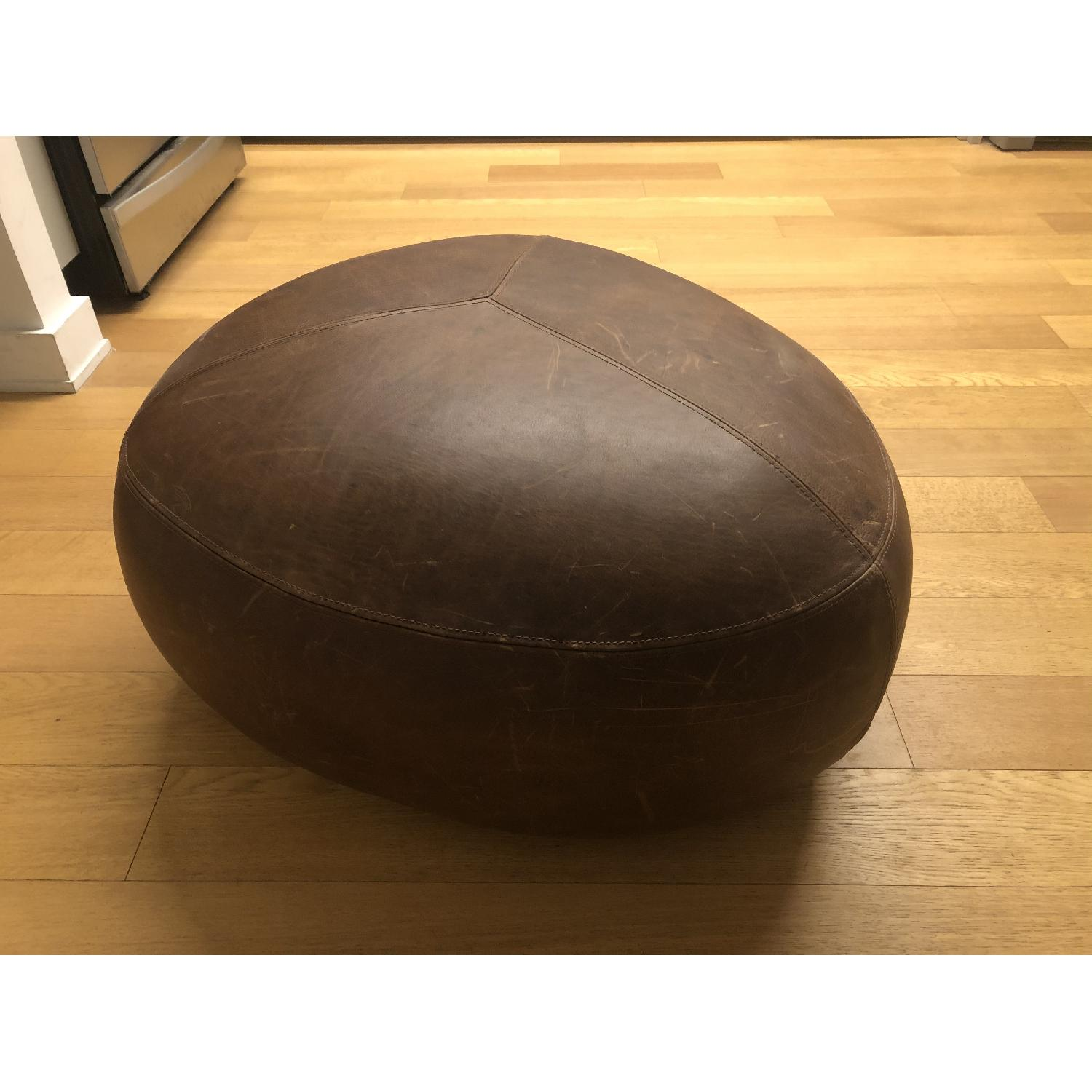 Article - Stone Rawhide Leather Brown Ottoman - image-1