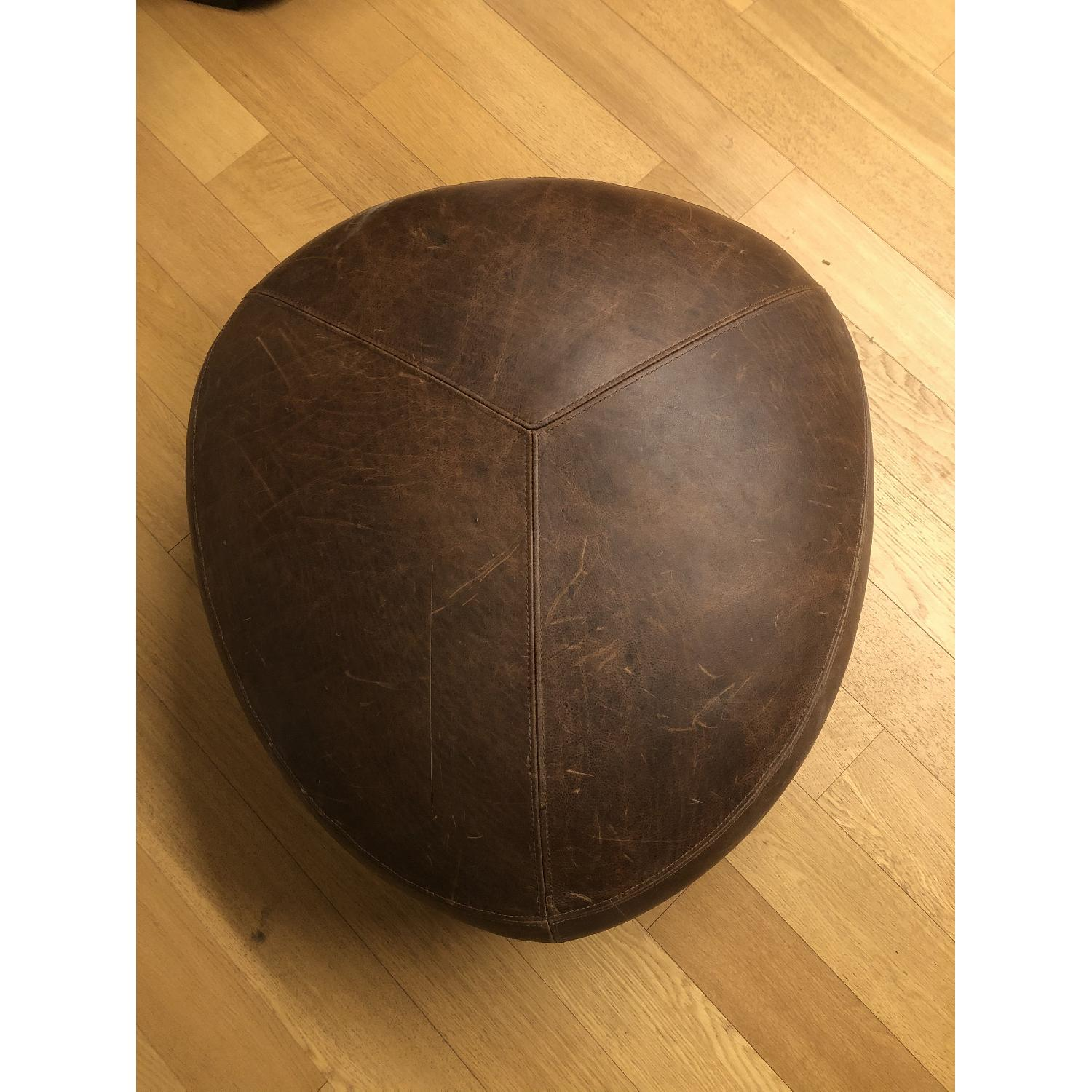 Article - Stone Rawhide Leather Brown Ottoman - image-3