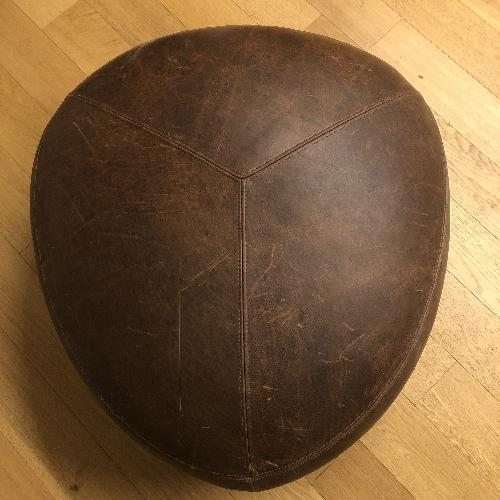 Article - Stone Rawhide Leather Brown Ottoman