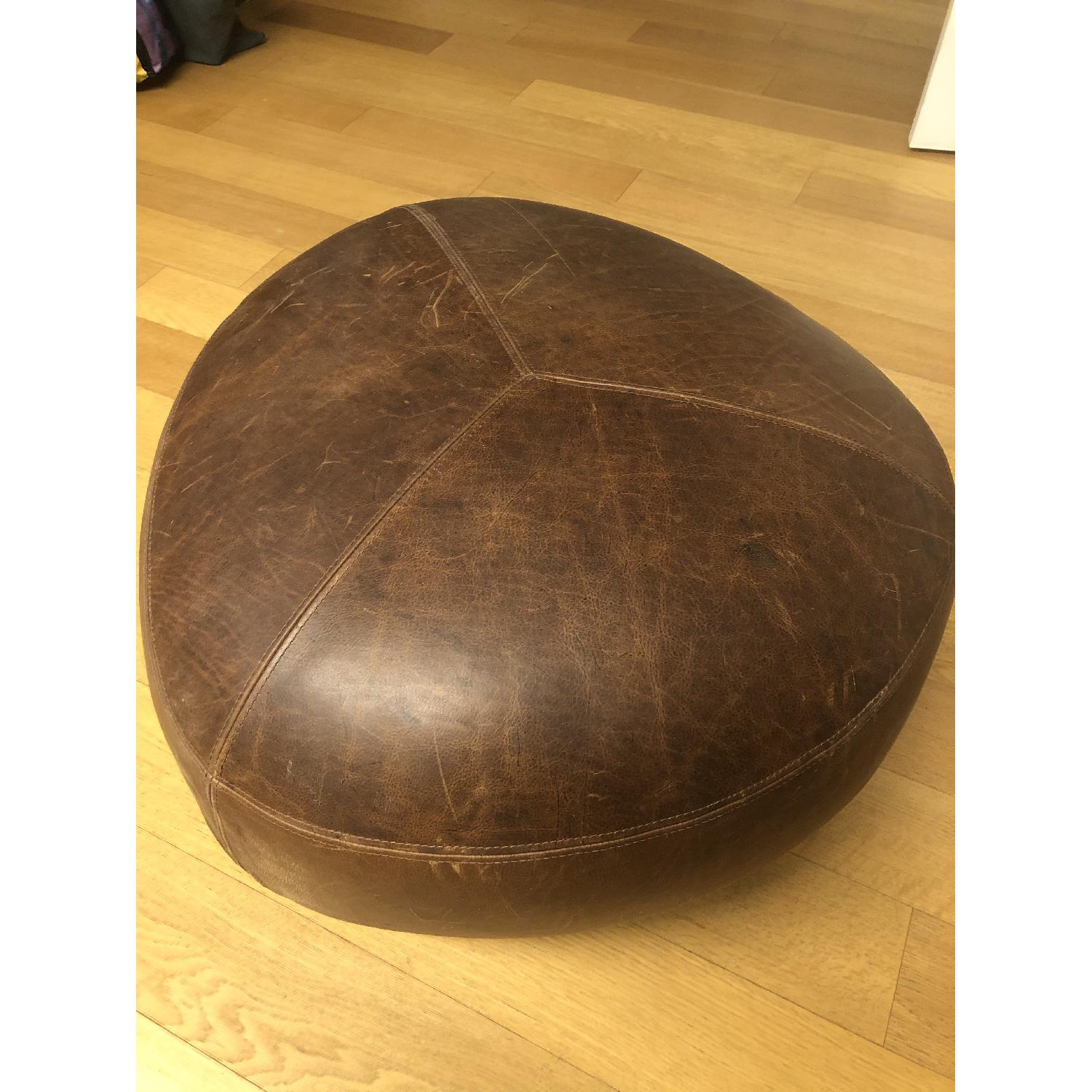 Article - Stone Rawhide Leather Brown Ottoman - image-4