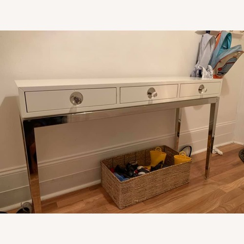 Jonathan Adler Channing Three Drawer White Console Table