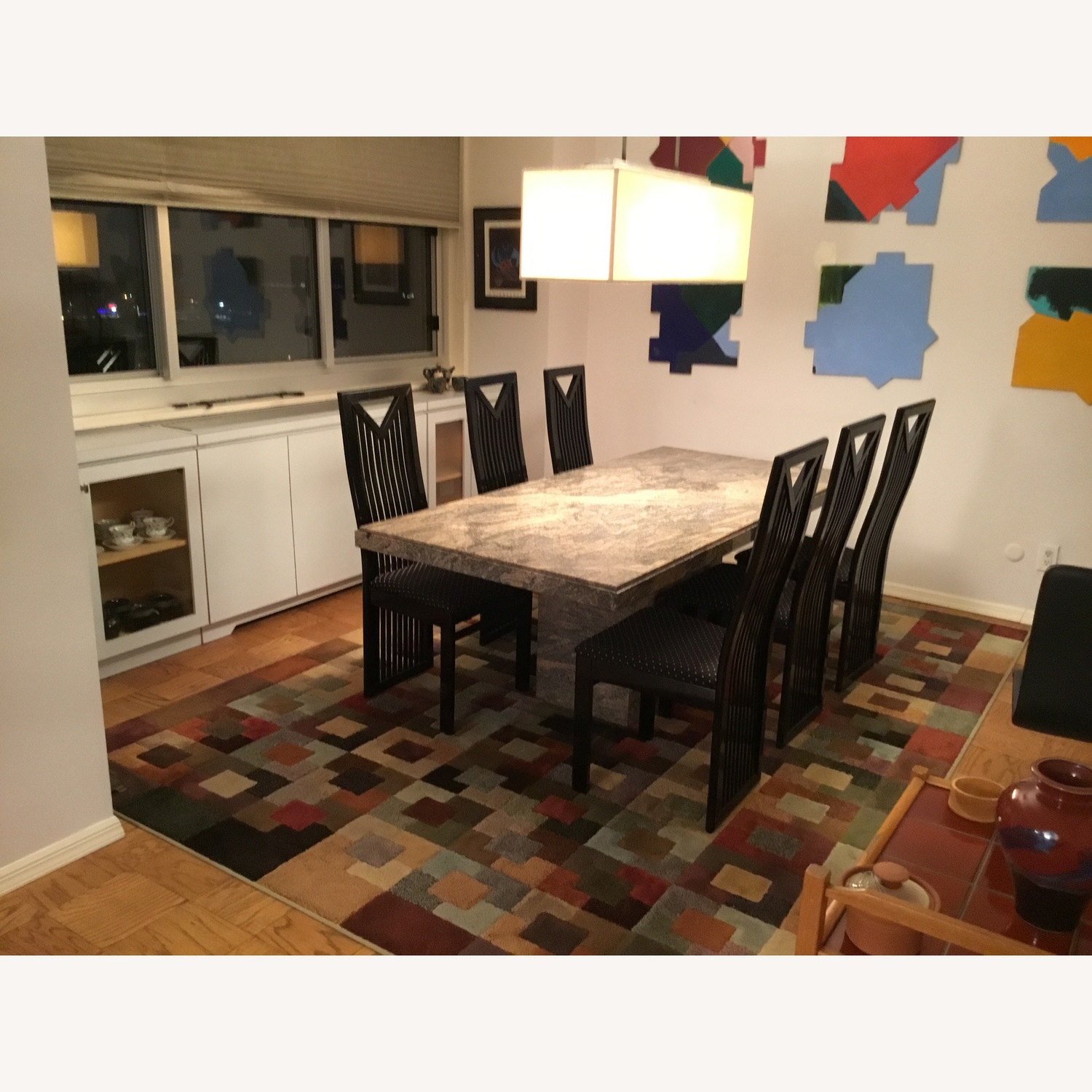 Granite Top Dining Table w/ 6 Chairs