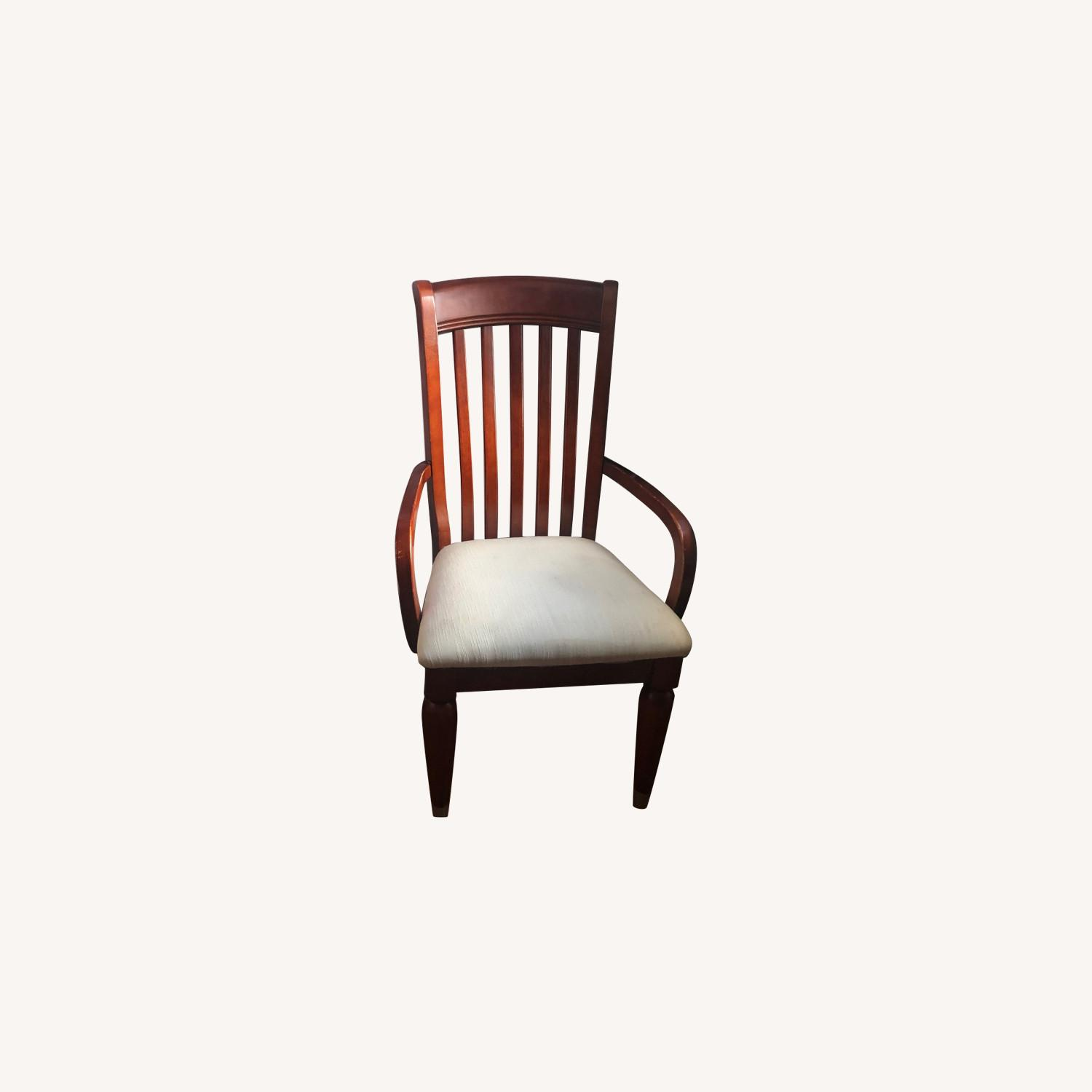 Ashley Cherry Wood Dining Chair w/ Off White Seat