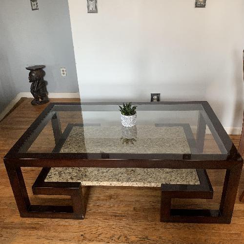 Used Century Dark Wood & Marble Cocktail Table for sale on AptDeco