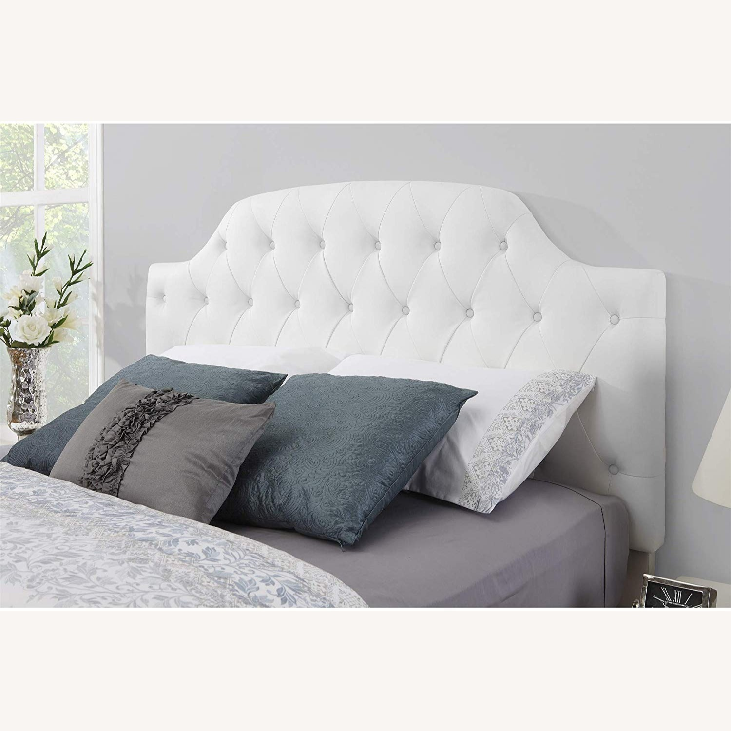 DHP Queen Faux Leather Tufted Headboard - image-0