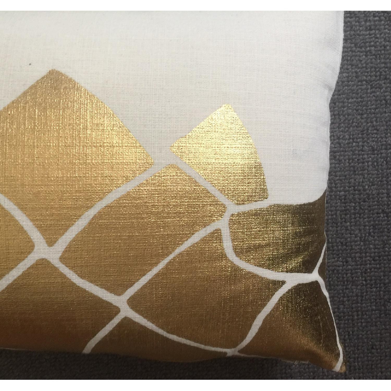 Cubist Gold Metallic Print Pillow - image-1