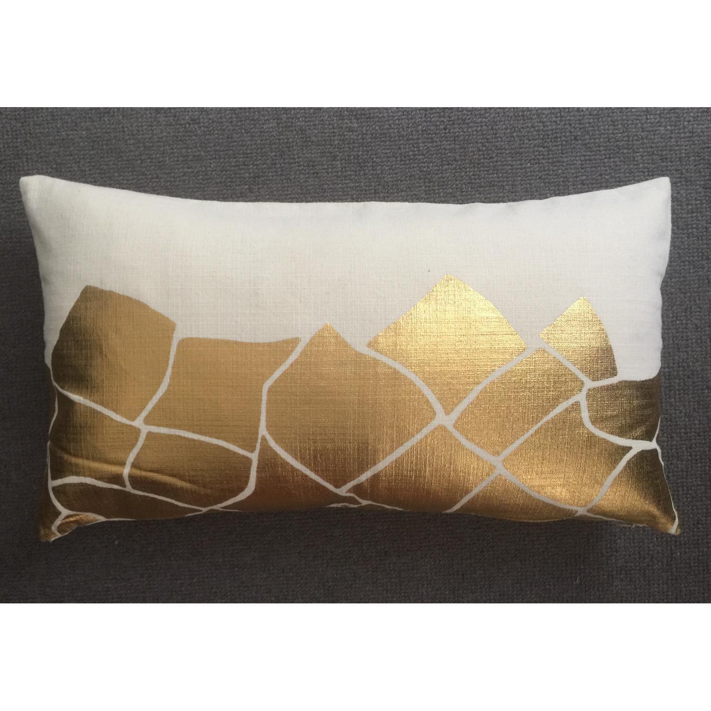 Cubist Gold Metallic Print Pillow - image-0